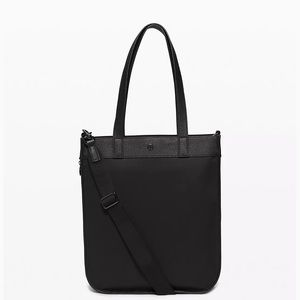 Lululemon Now and Always tote jacquard black suede